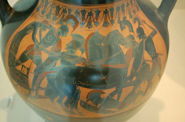 Battle scene on a black figure amphora, Greek - Attic 500-490 BCE. Attributed to the Princeton painter.